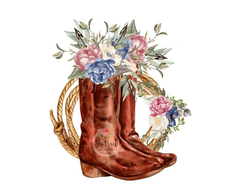 Cowgirl Boots Clipart Sublimation Design Western Clip Art Etsy In 2021 Western Clip Art Clip Art Western Wall Art