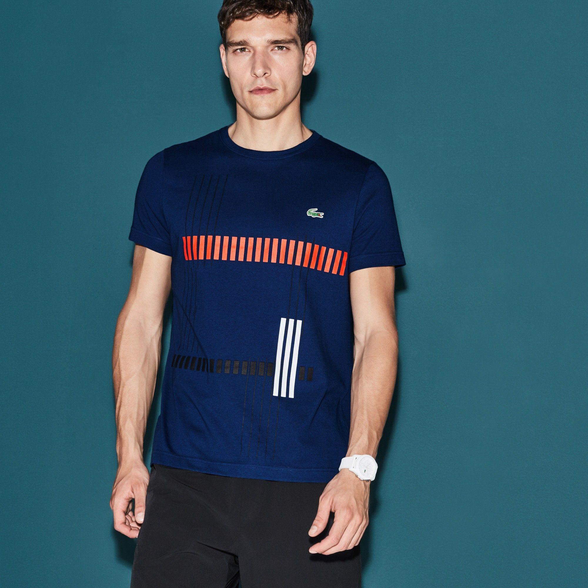 1c2e8639 LACOSTE Men's SPORT Tennis Striped Design Tech Jersey T ...