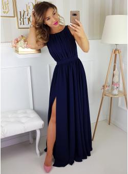 84bc272dbf Ellie - Granatowa długa sukienka z gipiurą