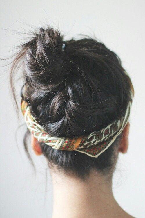 Head scarf and bun   hair things   Pinterest   Pretty hair ...