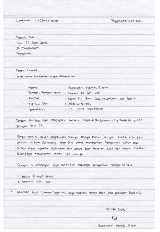 Surat Lamaran Tulis Tangan Huruf Kapital Contoh Lif Co Id