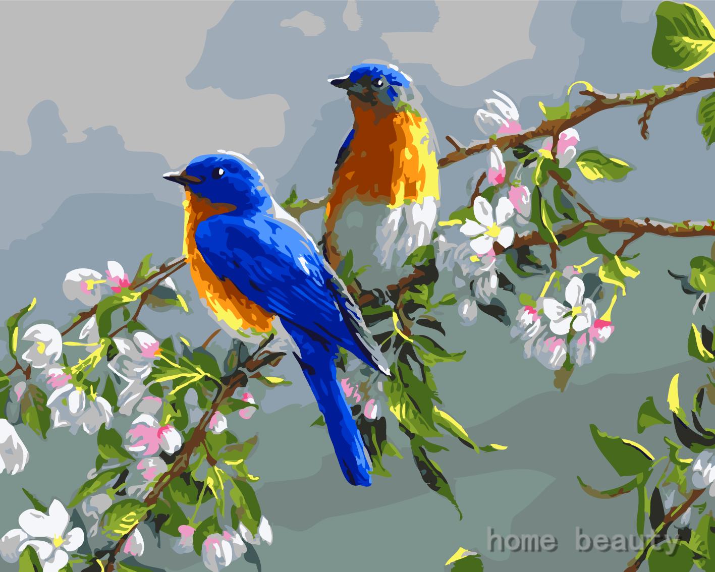 40x50 Cm Pared Coloracion By Numeros Pintura Al Oleo Digital De Diy Decoracion Del Hogar De La Pintura Sobre Lienzo Pajaros Y Flores Pajaros Pintura De Pajaros