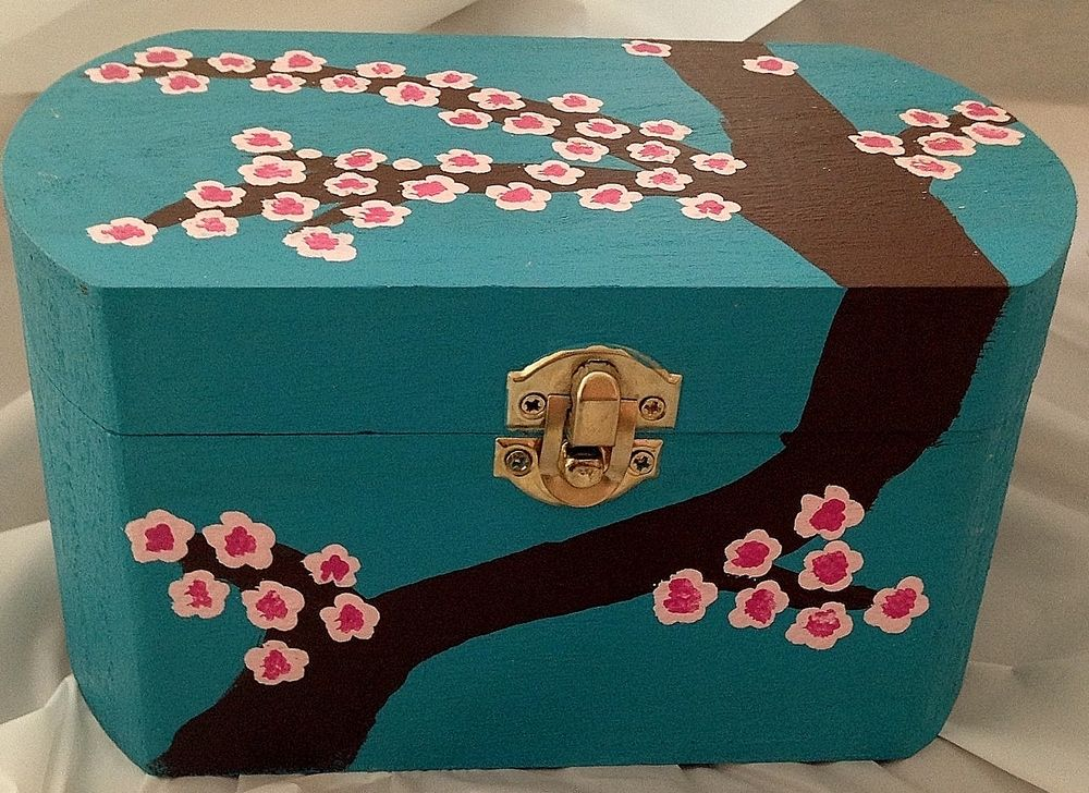 Standard Wooden Box Hand Painted With Acrylic Paint Finished With