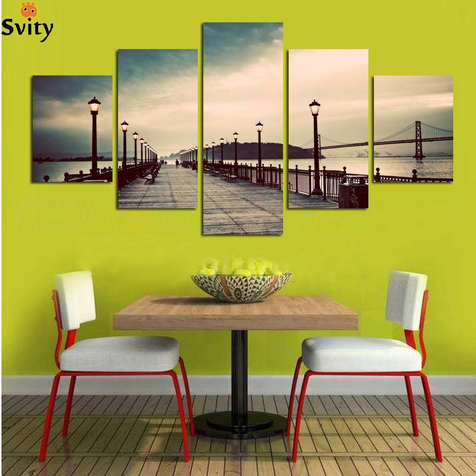 5Panel Home Modern Paintings Night Sunset On Sea Bridge Canvas ...