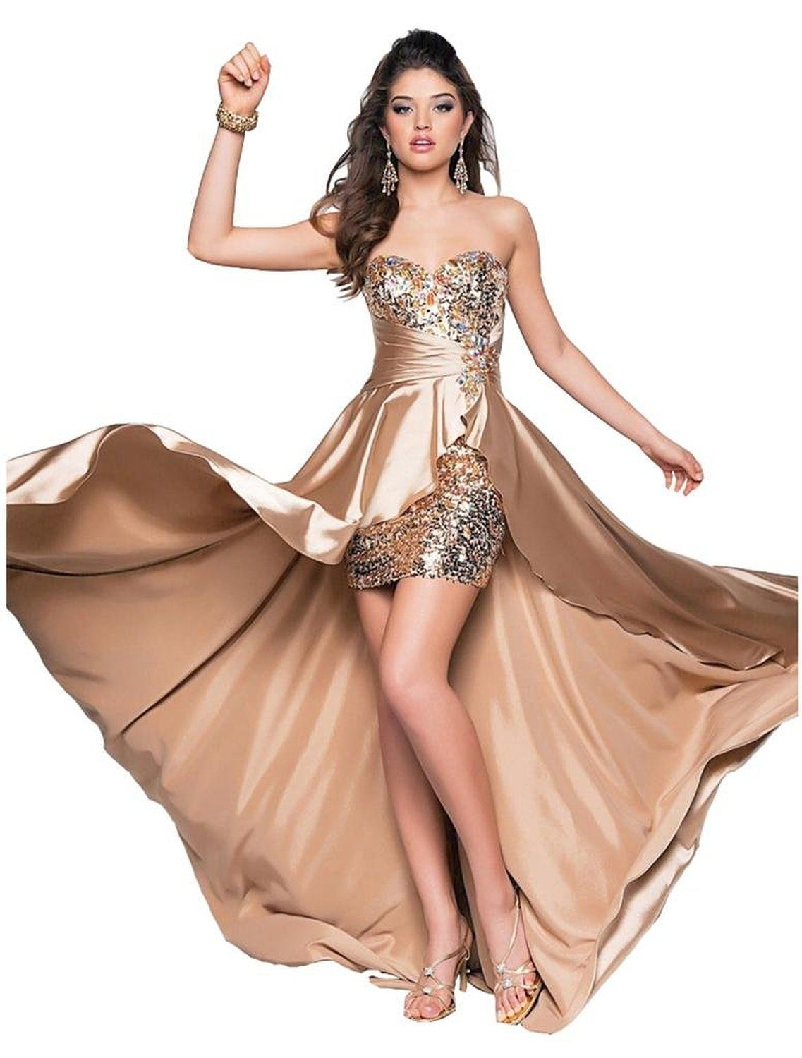 Gold High Low Prom Dresses Style