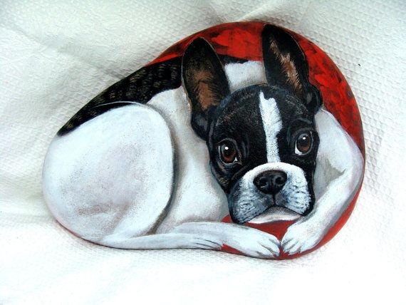 Custom Pet Portrait - Original Hand Painted Rocks by Shelli Bowler