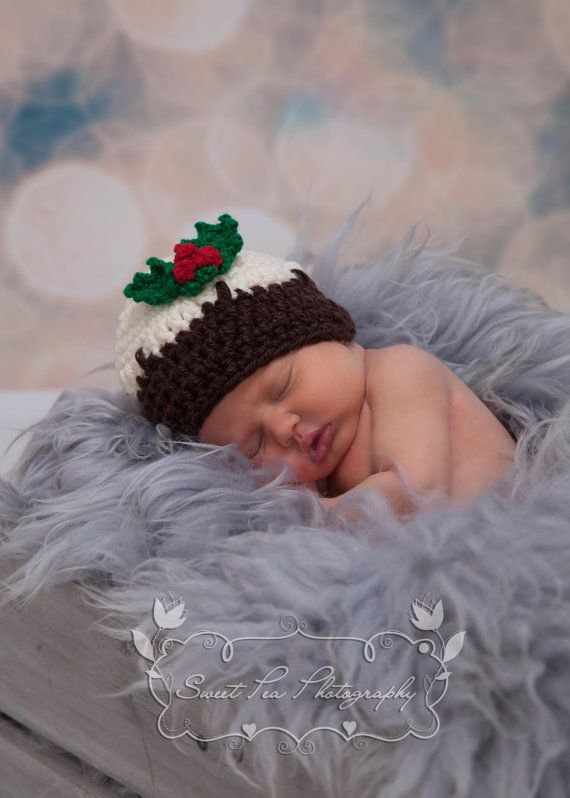 Crochet Christmas Pudding Hat Holly And Berries Trim Instant