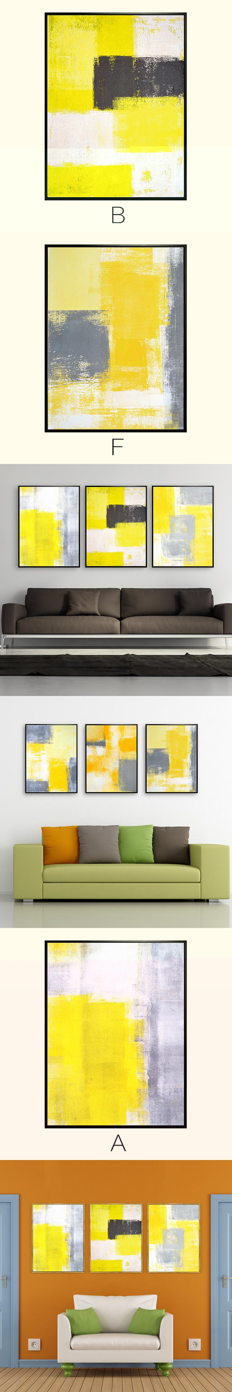 Hand Painted wall art yellow abstract canvas painting pot art ...