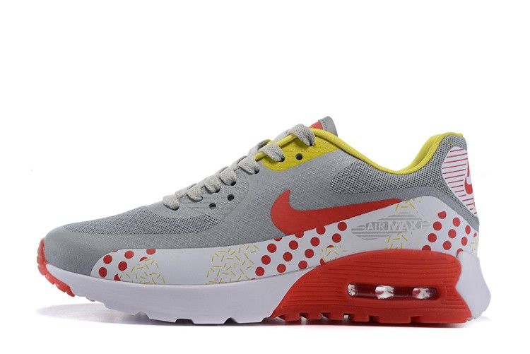 new style aefb4 9fa2d Nike Air Max 90 Ultra Breathe White Grey Red Womans Classic Running Shoes  725061-008