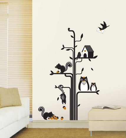 Squirrels Tree Cartoon Wall Stickers Murals For Nursery Bedroom