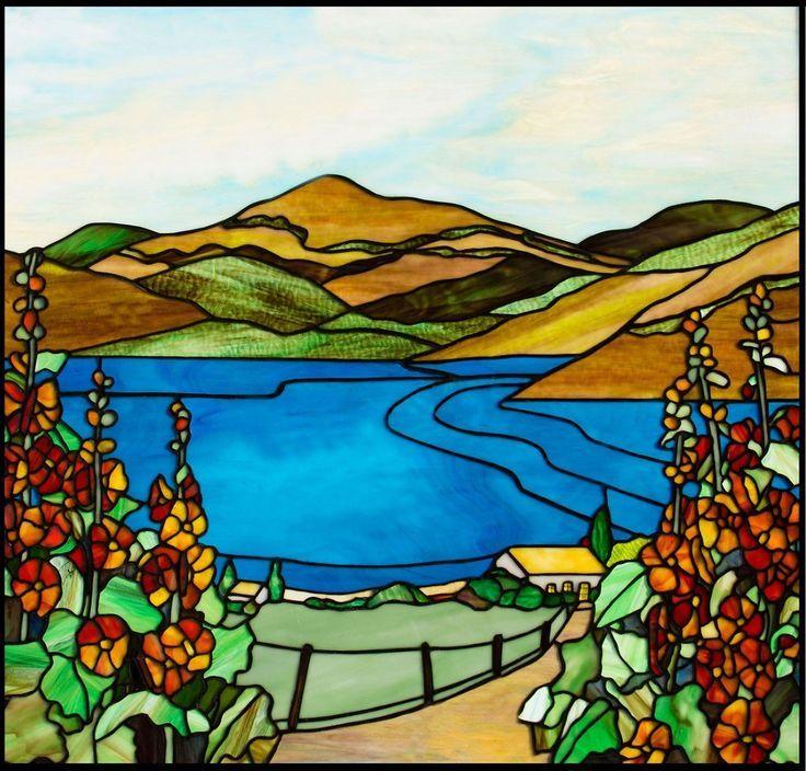 hollyhocks stained glass | Island Hollyhocks Original Stained Glass Panel 33x31 | eBay