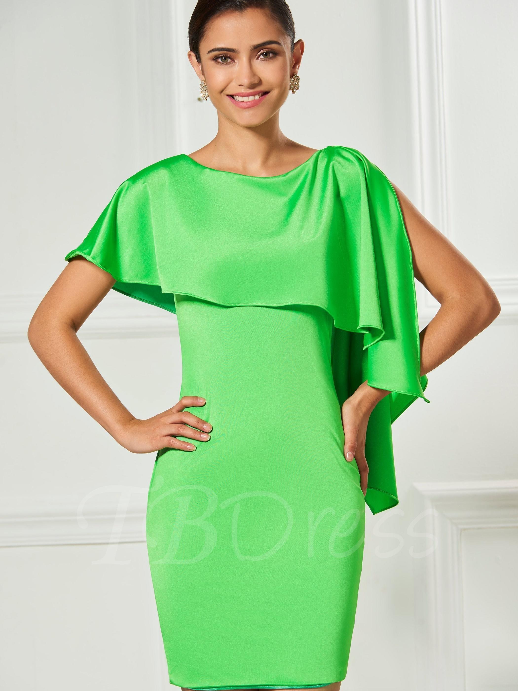TBDress - TBDress Scoop Sheath Short Sleeves Ruffles Cocktail Dress -  AdoreWe.com b5a67b85e