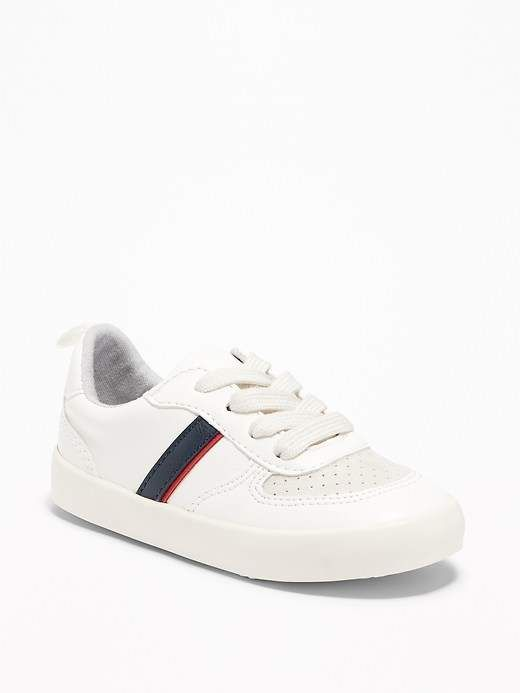 9abc61cab68072 Retro-Stripe Sneakers for Toddler Boys  upper leather faux
