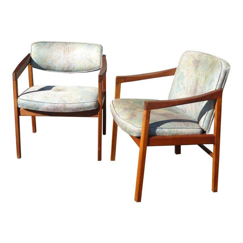 Mcm Baughman Accent Chair: Vintage Mid Century Milo Baughman Style Blue Accent Chairs