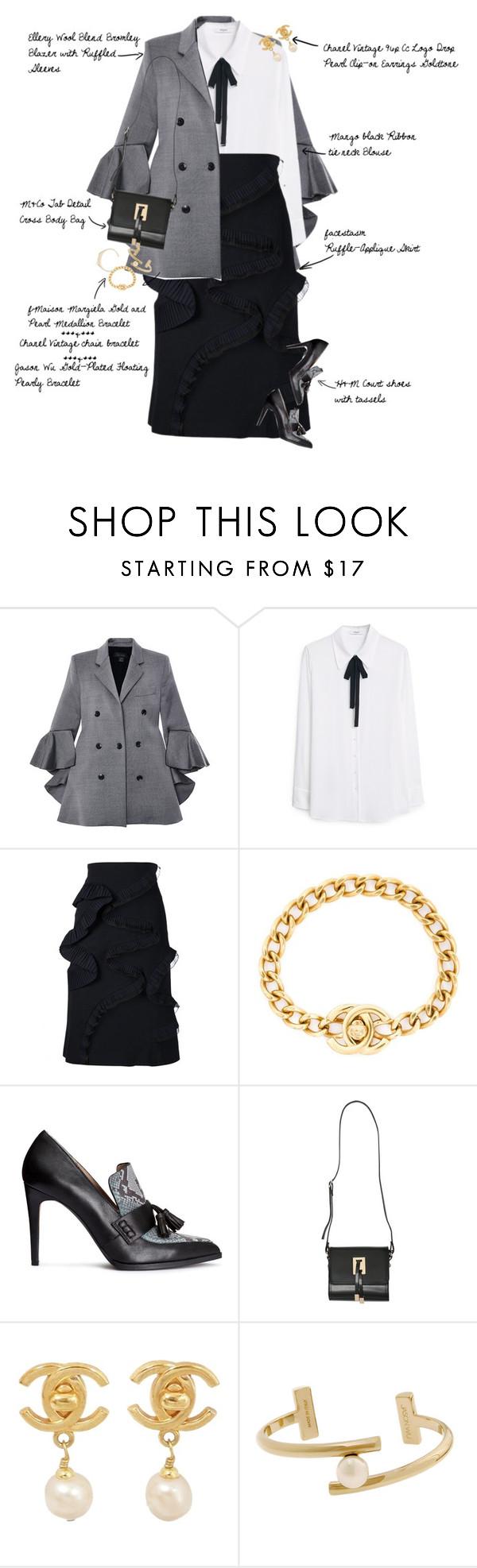 """High Fashion Take on Workwear"" by fashionscribbles ❤ liked on Polyvore featuring E L L E R Y, MANGO, Facetasm, Chanel, H&M, M&Co, Jason Wu, Maison Margiela, WorkWear and highfashion"