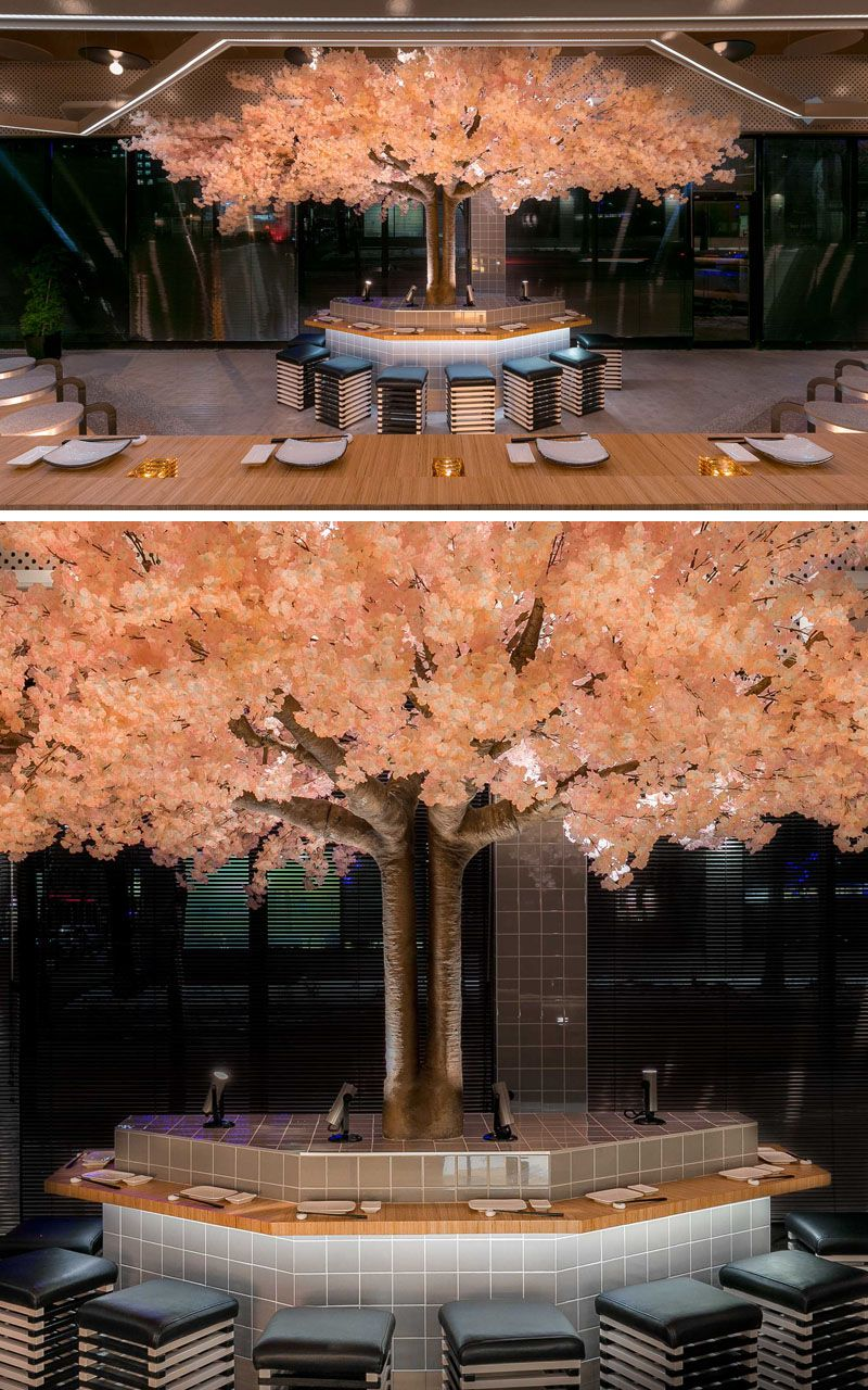 This Modern Japanese Restaurant Has A Cherry Blossom Tree That Stands 16 Feet 5m In Width And 11 Japanese Restaurant Design Blossom Trees Cherry Blossom Tree