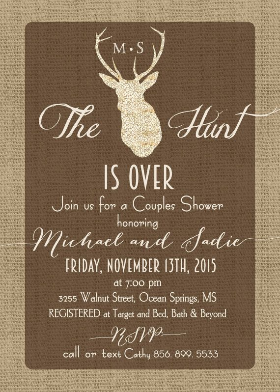 couples shower invitationhunt is over by generationsink