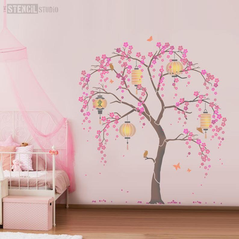 Japanese Cherry Blossom Sakura And Lanterns Nursery Tree Etsy Tree Stencil Cherry Blossom Tree Blossom Trees