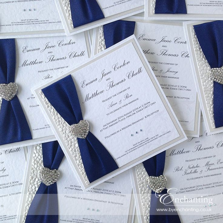 emma matthew opted for some stunning navy wedding invitations from the ariel collection featuring navy ribbon and a diamant heart embellishment - Invitations Wedding
