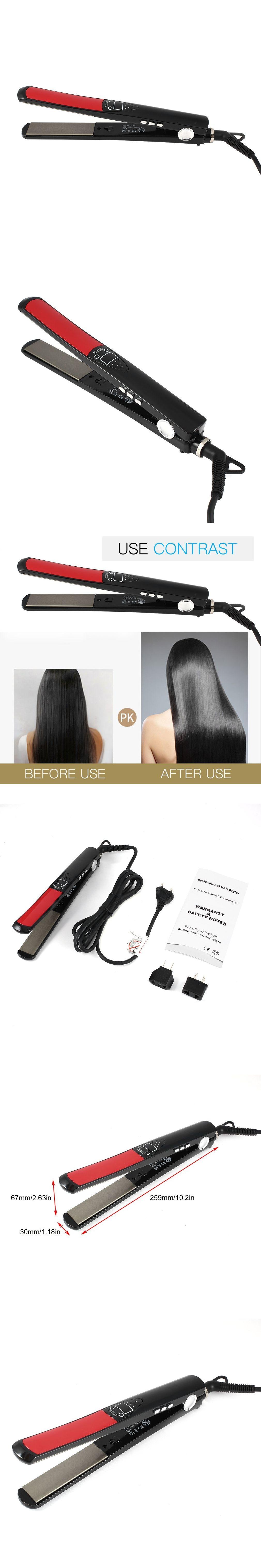 EU/ US/AU plug Hair Styler Solid Ceramic Straighten-Curl-Flip Style ...