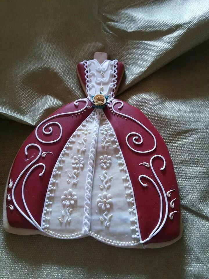 beautiful dress cookie Wedding cake cookies, Sugar