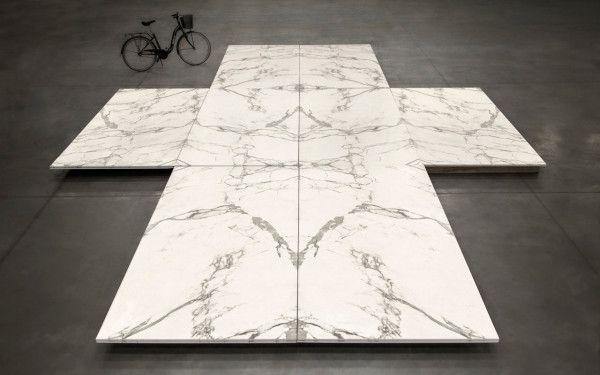 Cosentino Dekton Aura; ultra compact surface, large slab design, book match for endless symmetrical continuity