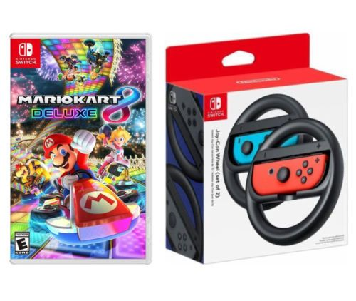 Mario Kart 8 Deluxe Nintendo Switch Game Wireless Steering Wheels Bundle New Mario Kart Nintendo Switch Mario Kart 8