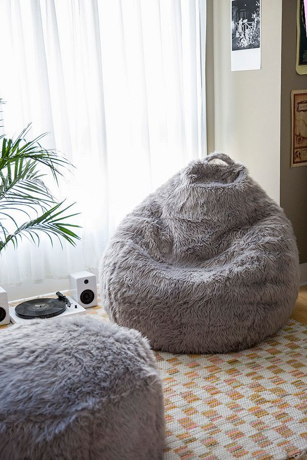 Aspyn Faux Fur Shag Bean Bag Chair in 2020 Bean bag