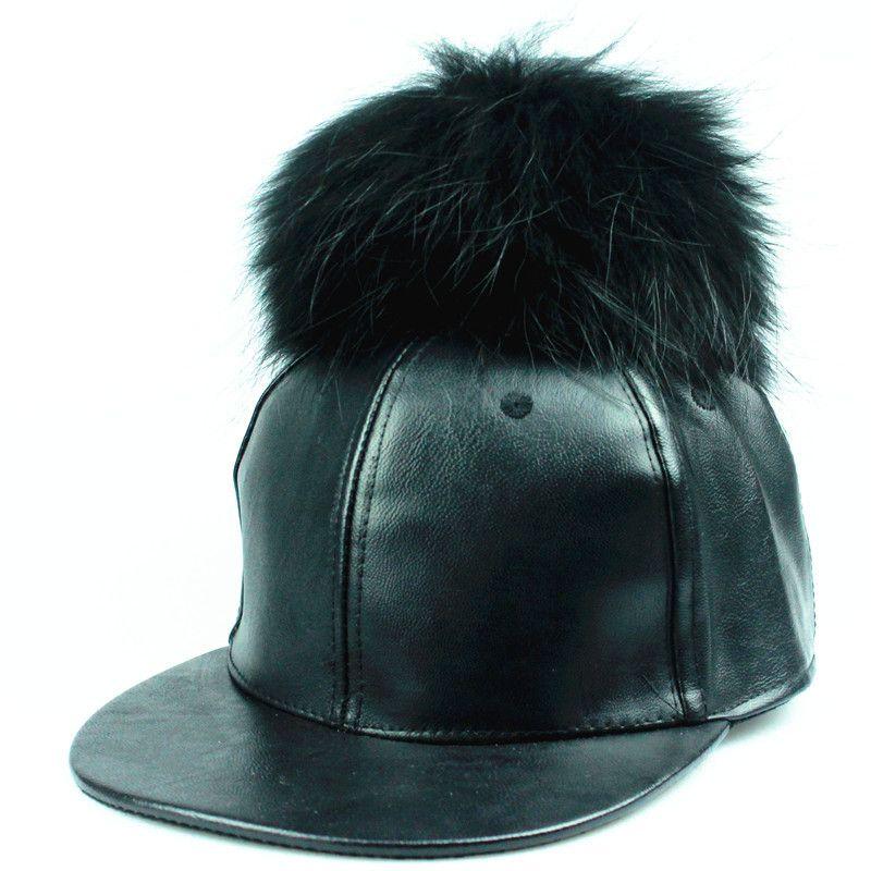 8cdba94c782 fashion PU leather baseball cap real mink pom poms fur ball cap hip hop hat  caps bone snapback hats for women