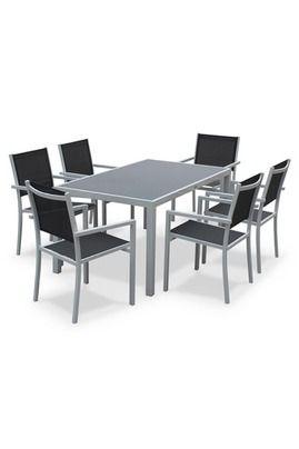 Alice\'s Garden Salon de jardin aluminium table 150cm, 6 fauteuils en ...