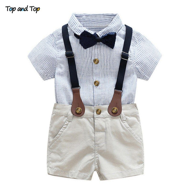 Toddler Kid Baby Boy Gentleman Tie Top Print T Shirts+Striped Shorts Outfit Set