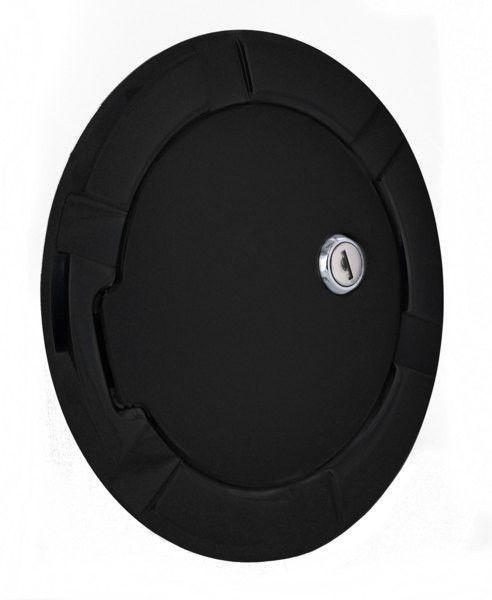 All Sales Striker Style Billet Fuel Dr 6 5/16 Ring O.D. 4 1/2 Door O.D.-Gloss Black Ring and locking door