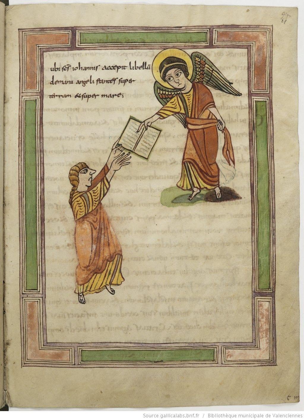 Apocalypse figurée. Words from Heaven. Angel passes a booklet to John. Apocalypse, 9th century. Valenciennes BM99, 21r (Revelation 1:1)
