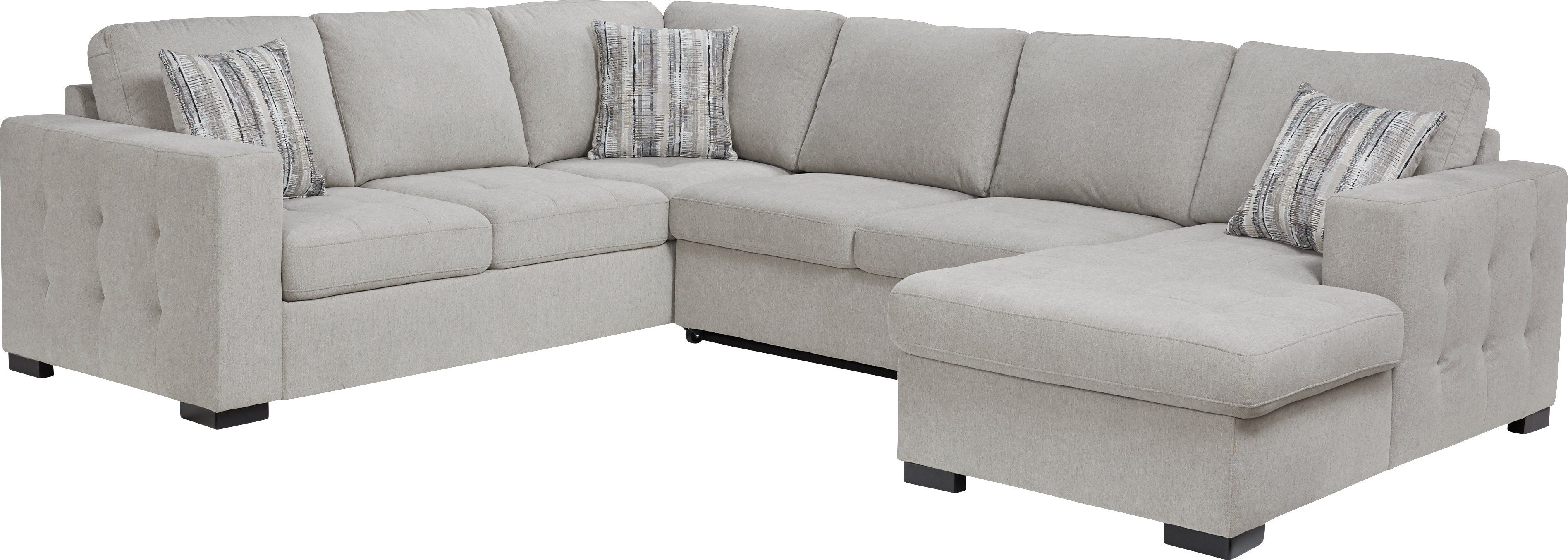 Angelino Heights Gray 3 Pc Sleeper Sectional Sleeper Sectional