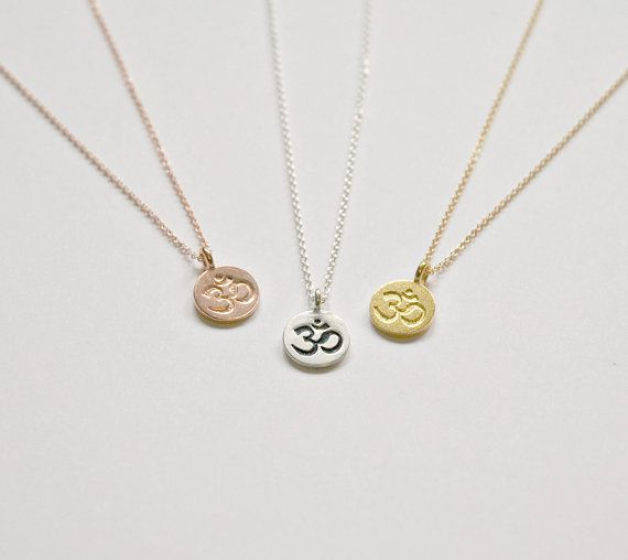 Ohm Necklace Small Round Om Symbol Pendant Gold By Littleglamour