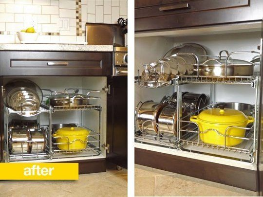 Before After A Better Way To Organize Pots And Pans In The Cupboard Kitchen Cabinet Organization Cabinets Organization Kitchen Organization