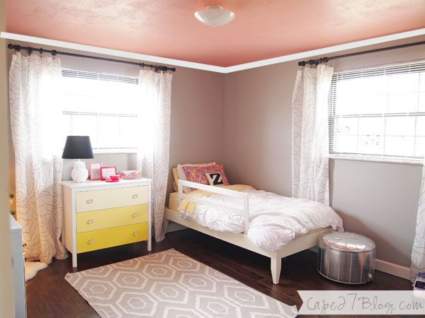 Coral Painted Ceiling Painted Ceiling Tufted Headboard Tutorial