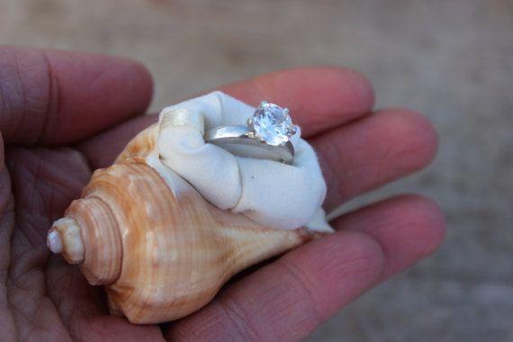 Beach Proposal Engagement Ring Box Sea Shell Organic Natural