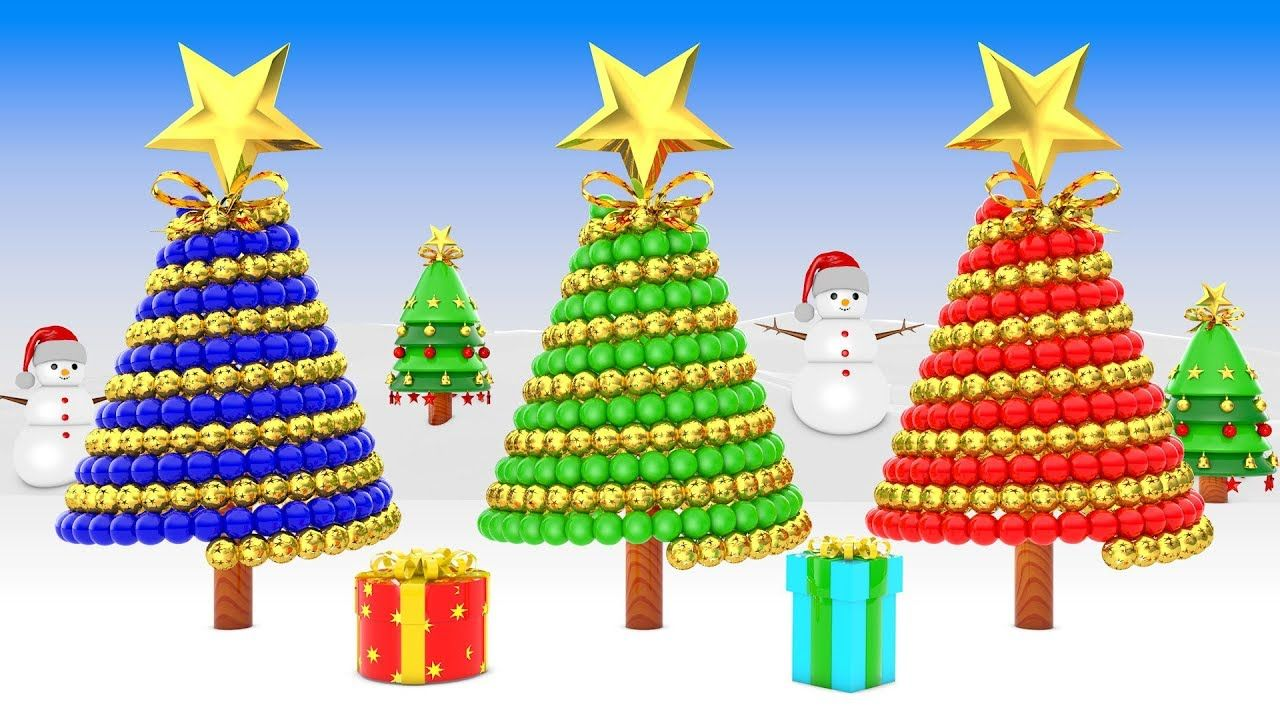 Learn colors with Christmas Trees and a Lot 3d Color Balls Christmas ...