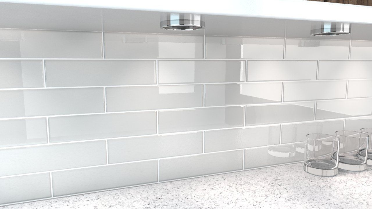 Image result for white glass subway tile backsplash for Glass instead of tiles in kitchen