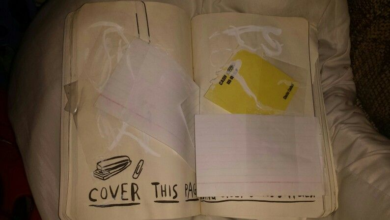 Office Supply Page. Used White Out, A Paper Clip, Tape, Index Cards