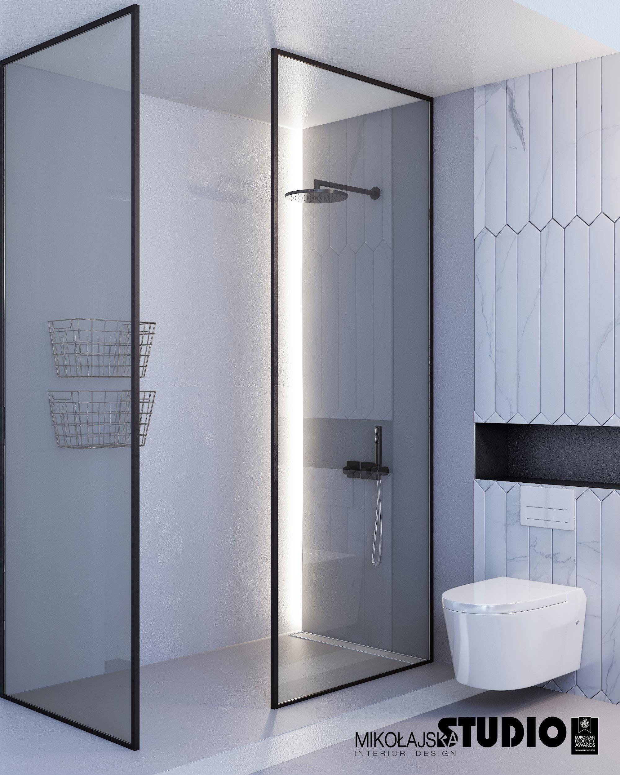 Wisząca Biała Toaleta Białe Kafelki Czarny Akcent