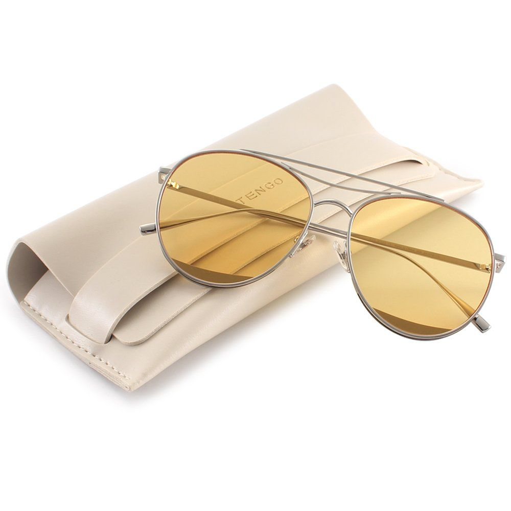 d2c6b56ebb21 TRSELLWIER Round Frame Flat Lenses Novelty Teardrop Design Fashion Metal  Frame Women Sunglasses ODD Style Yellow