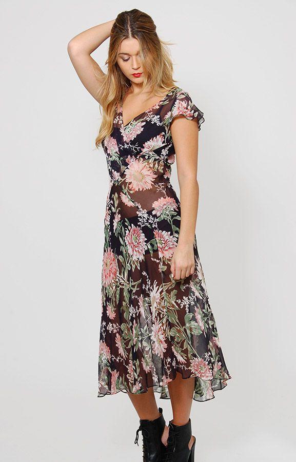 35317dde0f690 90s Sheer Floral Slip Dress | Lotusvintage.com Exclusives | Dresses ...