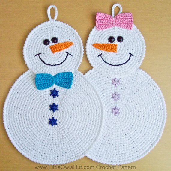 038 Crochet Pattern Snowman Potholder Decor Amigurumi Pdf File