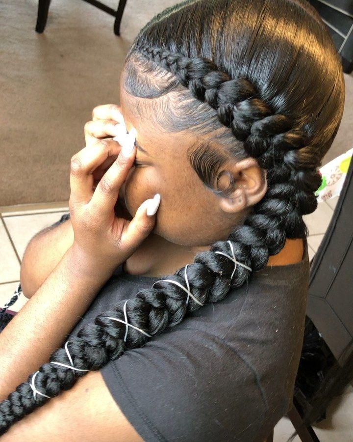 Chicago Hairstylist On Instagram 2 Braids Feedins Stitchbraids 2braids Neatbraids Braidstyles Braidsb Rambut Kepang Rambut Alami Gaya Rambut