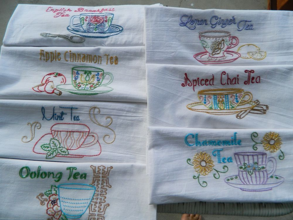 7 Day of the week  hand embroidered floursack dish towels. Tea Cups #Handmade