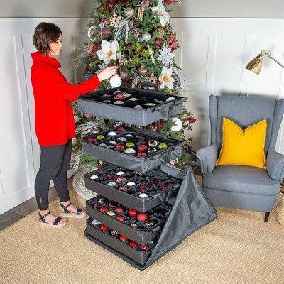 Treekeeper 5 Tray Adjustable Telescoping Ornament Storage Bag Christmas Storage Plaid Christmas Decor Retro Christmas Decorations