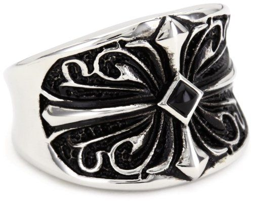 """Maksim """"MC by Maksim"""" Stainless Steel Cross with Agate Center Men's Ring: Jewelry: Amazon.com"""