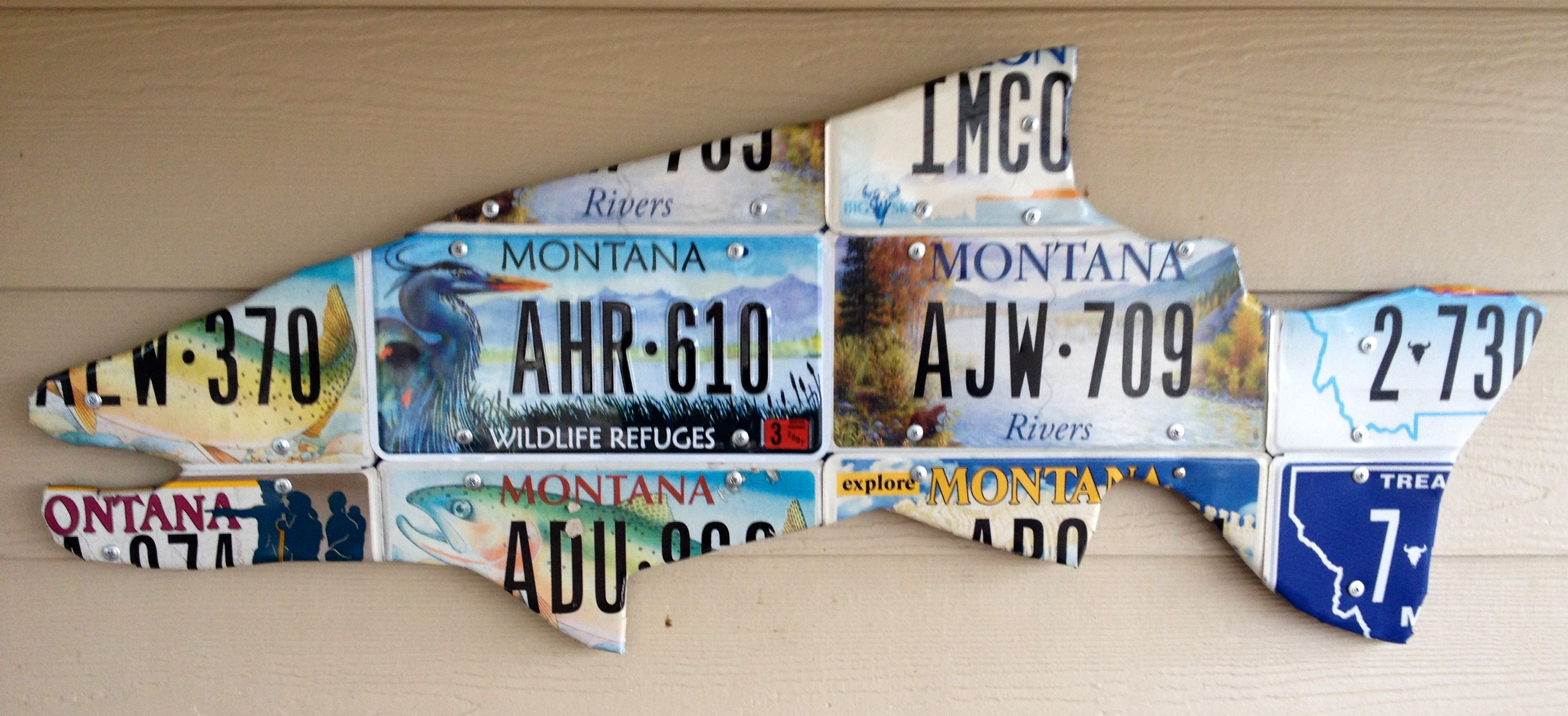 Mix Montana License Plate Trout Cutthroat And Blue Heron Plates